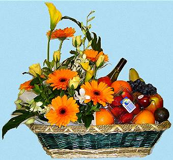 Fruit And Flower basket arrangements